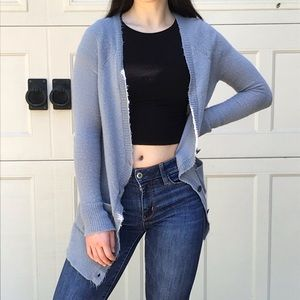 Fuzzy gray cardigan from American Eagle!